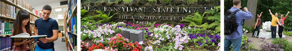 Penn State Abington Sign, Students at Lion Shrine, and Students in Library