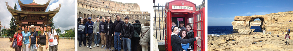 four photos in japan, england, italy, and malta