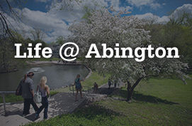 """life @ abington"" with photo of campus pond and trees"