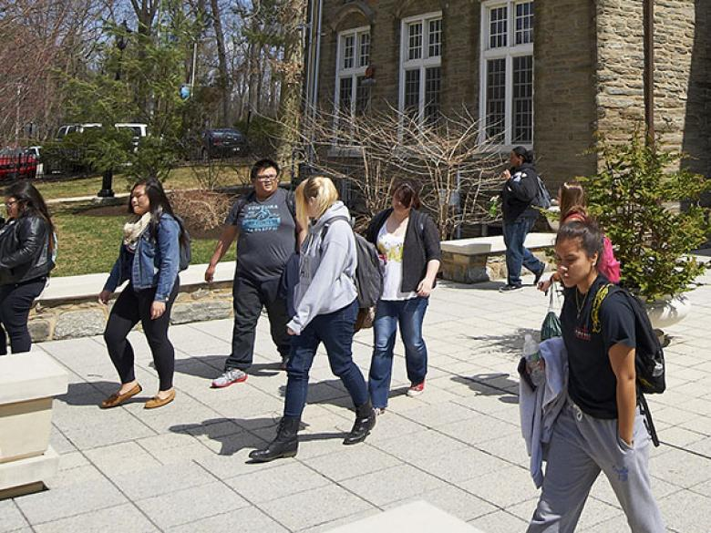students on Sutherland Plaza