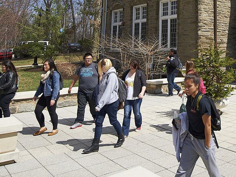 students on Sutherland Plaza