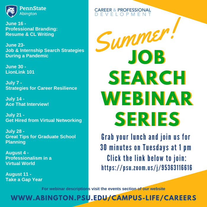 Job Search Webinar Series
