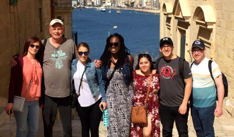 Steve McMillan and students in Malta