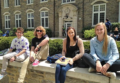 four students at suth plaza