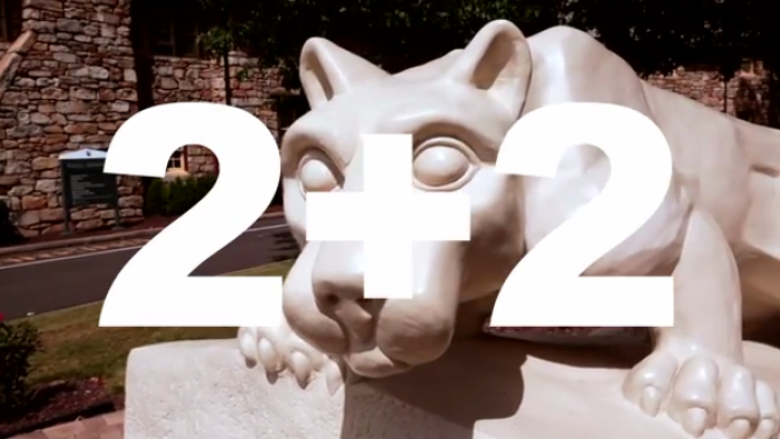 penn state lion with 2+2 text